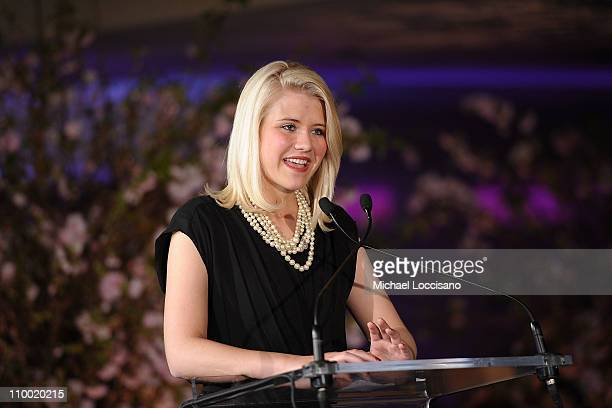 Honoree Elizabeth Smart addresses the audience during the 2nd Annual Dillervon Furstenberg Awards at United Nations on March 11 2011 in New York City