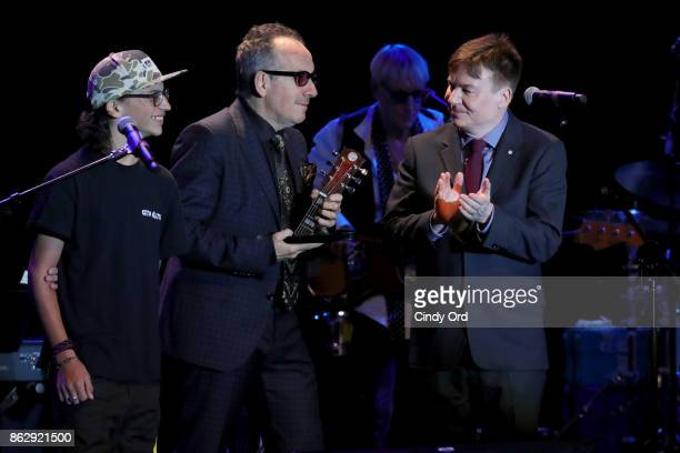 Honoree Elvis Costello and Actor Mike Myers speak onstage during the Little Kids Rock Benefit 2017 at PlayStation Theater on October 18 2017 in New...