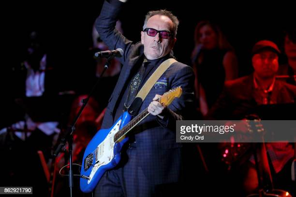 Honoree Elvis Costello performs onstage during the Little Kids Rock Benefit 2017 at PlayStation Theater on October 18 2017 in New York City