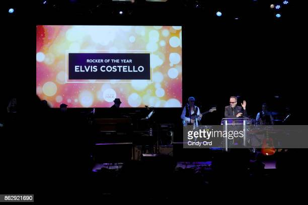 Honoree Elvis Costello speaks onstage during the Little Kids Rock Benefit 2017 at PlayStation Theater on October 18 2017 in New York City