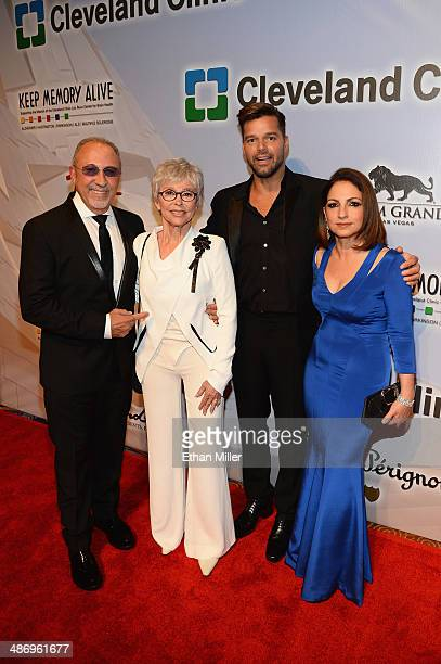 Honoree Emilio Estefan Jr actress/singer Rita Moreno singer Ricky Martin and honoree Gloria Estefan attend the 18th annual Keep Memory Alive 'Power...