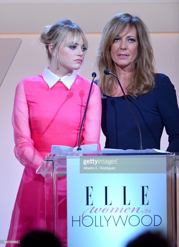 Honoree <a gi-track='captionPersonalityLinkClicked' href=/galleries/search?phrase=Emma+Stone&family=editorial&specificpeople=672023 ng-click='$event.stopPropagation()'>Emma Stone</a> and presenter <a gi-track='captionPersonalityLinkClicked' href=/galleries/search?phrase=Allison+Janney&family=editorial&specificpeople=206290 ng-click='$event.stopPropagation()'>Allison Janney</a> speak onstage at ELLE's 19th Annual Women In Hollywood Celebration at the Four Seasons Hotel on October 15, 2012 in Beverly Hills, California.