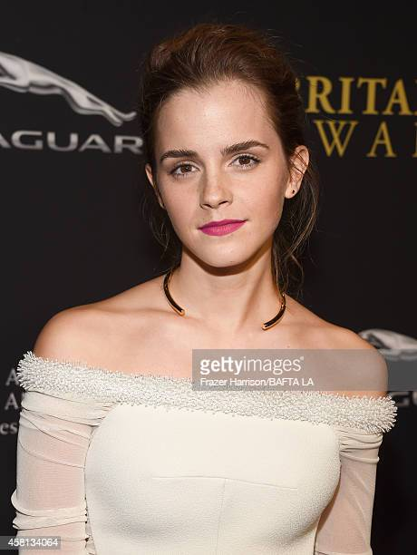Honoree Emma Watson attends the BAFTA Los Angeles Jaguar Britannia Awards presented by BBC America and United Airlines at The Beverly Hilton Hotel on...