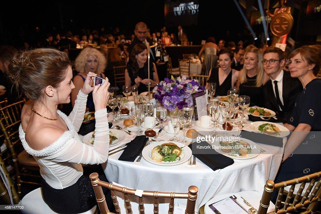 Honoree Emma Watson BAFTA Chair Anne Morrison and BAFTA Chief Executive Amanda Berry OBE wearing Burberry attend the BAFTA Los Angeles Jaguar...