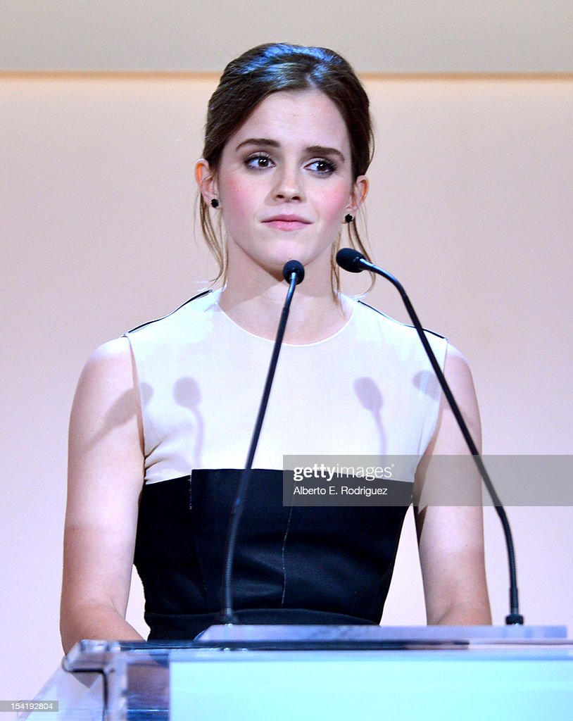 Honoree <a gi-track='captionPersonalityLinkClicked' href=/galleries/search?phrase=Emma+Watson&family=editorial&specificpeople=171373 ng-click='$event.stopPropagation()'>Emma Watson</a> speaks onstage at ELLE's 19th Annual Women In Hollywood Celebration at the Four Seasons Hotel on October 15, 2012 in Beverly Hills, California.