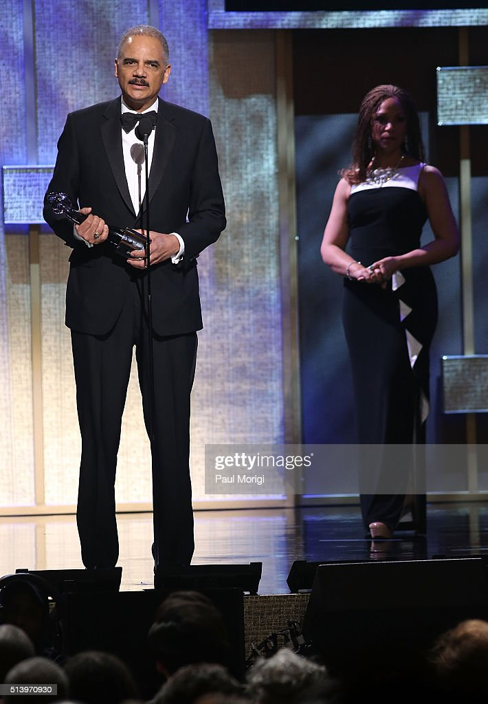 Honoree Eric Holder speaks on stage after receiving an award during the BET Honors 2016 Show at Warner Theatre on March 5 2016 in Washington DC