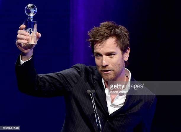 Honoree Ewan McGregor accepts the International Humanitarian Award onstage at the 2nd Annual unite4humanity presented by ALCATEL ONETOUCH at the...