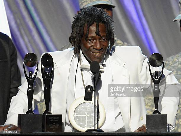 Honoree Flavor Flav speaks at the 28th Annual Rock and Roll Hall of Fame Induction Ceremony at Nokia Theatre LA Live on April 18 2013 in Los Angeles...