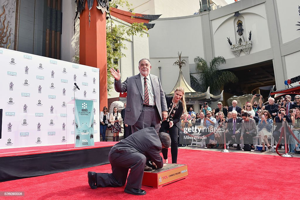 Honoree <a gi-track='captionPersonalityLinkClicked' href=/galleries/search?phrase=Francis+Ford+Coppola&family=editorial&specificpeople=204241 ng-click='$event.stopPropagation()'>Francis Ford Coppola</a> (C) and CEO of TCL Chinese Theatres Alwyn Hight Kushner attend the <a gi-track='captionPersonalityLinkClicked' href=/galleries/search?phrase=Francis+Ford+Coppola&family=editorial&specificpeople=204241 ng-click='$event.stopPropagation()'>Francis Ford Coppola</a> Hand and Footprint Ceremony during the TCM Classic Film Festival 2016 on April 29, 2016 in Los Angeles, California. 25826_008