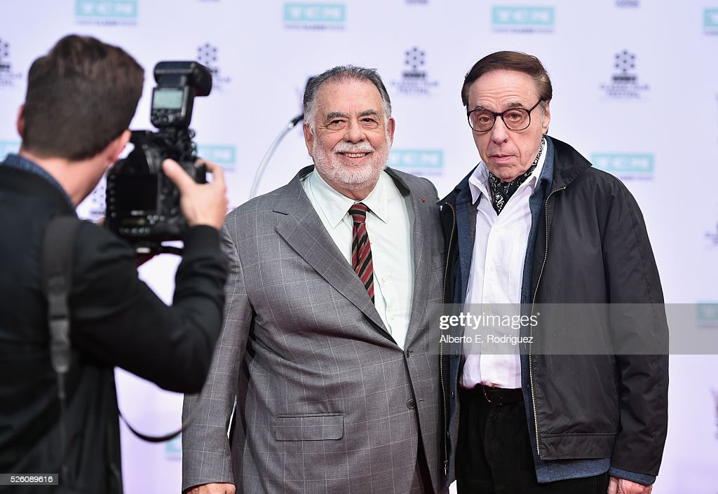 Honoree <a gi-track='captionPersonalityLinkClicked' href=/galleries/search?phrase=Francis+Ford+Coppola&family=editorial&specificpeople=204241 ng-click='$event.stopPropagation()'>Francis Ford Coppola</a> (L) and writer/director <a gi-track='captionPersonalityLinkClicked' href=/galleries/search?phrase=Peter+Bogdanovich&family=editorial&specificpeople=208149 ng-click='$event.stopPropagation()'>Peter Bogdanovich</a> attend the <a gi-track='captionPersonalityLinkClicked' href=/galleries/search?phrase=Francis+Ford+Coppola&family=editorial&specificpeople=204241 ng-click='$event.stopPropagation()'>Francis Ford Coppola</a> Hand and Footprint Ceremony during the TCM Classic Film Festival 2016 on April 29, 2016 in Los Angeles, California. 25826_006
