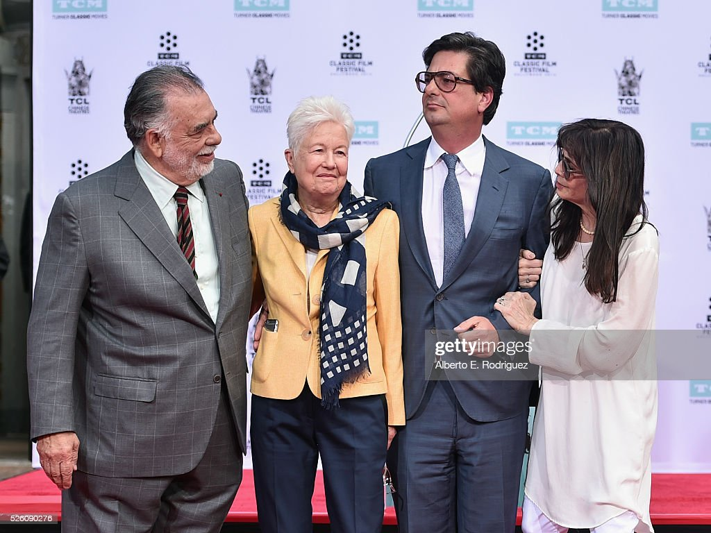 Honoree <a gi-track='captionPersonalityLinkClicked' href=/galleries/search?phrase=Francis+Ford+Coppola&family=editorial&specificpeople=204241 ng-click='$event.stopPropagation()'>Francis Ford Coppola</a>, directors Eleanor Coppola, <a gi-track='captionPersonalityLinkClicked' href=/galleries/search?phrase=Roman+Coppola&family=editorial&specificpeople=615097 ng-click='$event.stopPropagation()'>Roman Coppola</a> and actress <a gi-track='captionPersonalityLinkClicked' href=/galleries/search?phrase=Talia+Shire&family=editorial&specificpeople=769157 ng-click='$event.stopPropagation()'>Talia Shire</a> attend the <a gi-track='captionPersonalityLinkClicked' href=/galleries/search?phrase=Francis+Ford+Coppola&family=editorial&specificpeople=204241 ng-click='$event.stopPropagation()'>Francis Ford Coppola</a> Hand and Footprint Ceremony during the TCM Classic Film Festival 2016 on April 29, 2016 in Los Angeles, California. 25826_006