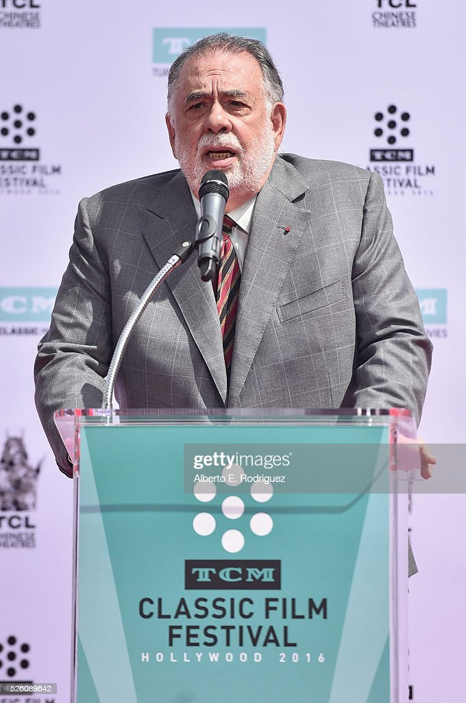 Honoree <a gi-track='captionPersonalityLinkClicked' href=/galleries/search?phrase=Francis+Ford+Coppola&family=editorial&specificpeople=204241 ng-click='$event.stopPropagation()'>Francis Ford Coppola</a> speaks onstage during the <a gi-track='captionPersonalityLinkClicked' href=/galleries/search?phrase=Francis+Ford+Coppola&family=editorial&specificpeople=204241 ng-click='$event.stopPropagation()'>Francis Ford Coppola</a> Hand and Footprint Ceremony during the TCM Classic Film Festival 2016 on April 29, 2016 in Los Angeles, California. 25826_006