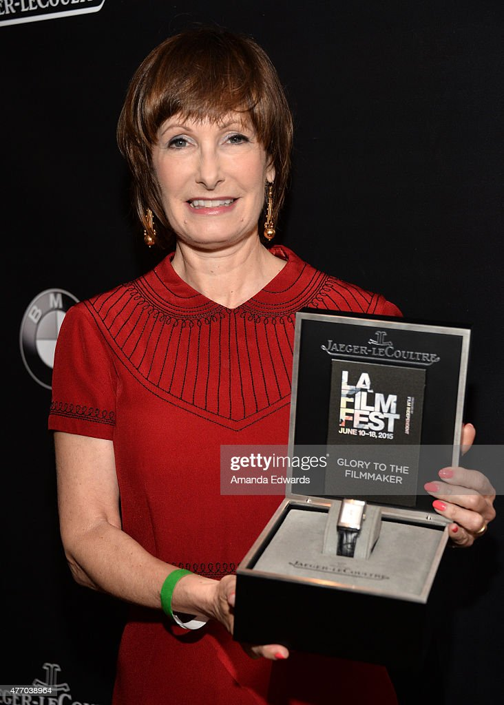 Honoree <a gi-track='captionPersonalityLinkClicked' href=/galleries/search?phrase=Gale+Anne+Hurd&family=editorial&specificpeople=228412 ng-click='$event.stopPropagation()'>Gale Anne Hurd</a> poses with the Glory To The Filmmaker award at Women Who Make It Happen: <a gi-track='captionPersonalityLinkClicked' href=/galleries/search?phrase=Gale+Anne+Hurd&family=editorial&specificpeople=228412 ng-click='$event.stopPropagation()'>Gale Anne Hurd</a> Tribute during the 2015 Los Angeles Film Festival at Wolfgang Puck at LA Live on June 13, 2015 in Los Angeles, California.