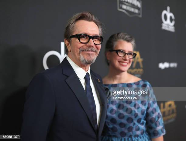 Honoree Gary Oldman and Gisele Schmidt attend the 21st Annual Hollywood Film Awards at The Beverly Hilton Hotel on November 5 2017 in Beverly Hills...