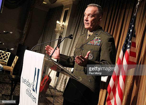 Honoree General Joseph F Dunford Jr Chairman of the Joint Chiefs of Staff speaks after receiving the Hero Award at the 15th Anniversary Roots of...