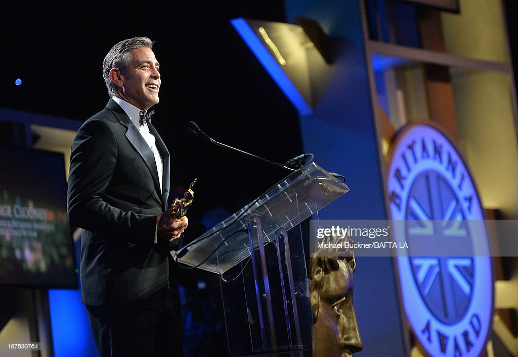 Honoree <a gi-track='captionPersonalityLinkClicked' href=/galleries/search?phrase=George+Clooney&family=editorial&specificpeople=202529 ng-click='$event.stopPropagation()'>George Clooney</a>, recipient of the Stanley Kubrick Britannia Award for Excellence in Film speaks onstage during the 2013 BAFTA LA Jaguar Britannia Awards presented by BBC America at The Beverly Hilton Hotel on November 9, 2013 in Beverly Hills, California.