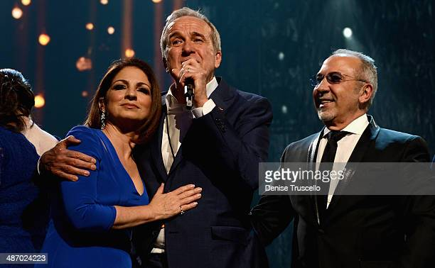 Honoree Gloria Estefan Keep Memory Alive Founder Larry Ruvo and honoree Emilio Estefan Jr speak onstage during the 18th annual Keep Memory Alive...