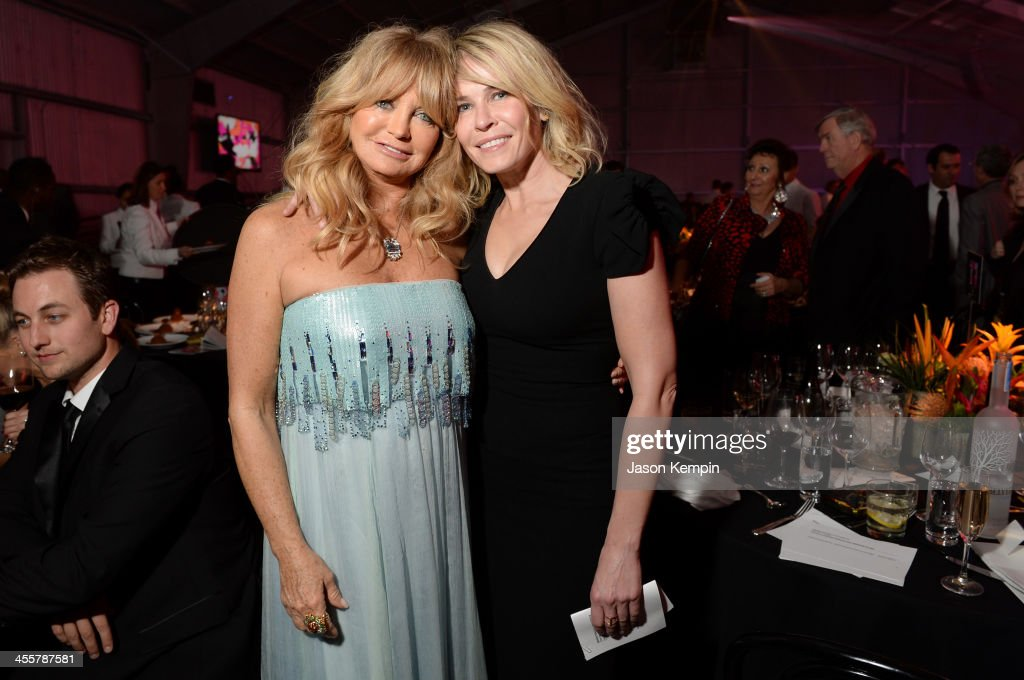 Honoree <a gi-track='captionPersonalityLinkClicked' href=/galleries/search?phrase=Goldie+Hawn&family=editorial&specificpeople=171422 ng-click='$event.stopPropagation()'>Goldie Hawn</a> (L) and host <a gi-track='captionPersonalityLinkClicked' href=/galleries/search?phrase=Chelsea+Handler&family=editorial&specificpeople=599162 ng-click='$event.stopPropagation()'>Chelsea Handler</a> attend the 2013 amfAR Inspiration Gala Los Angeles presented by MAC Viva Glam at Milk Studios on December 12, 2013 in Los Angeles, California.