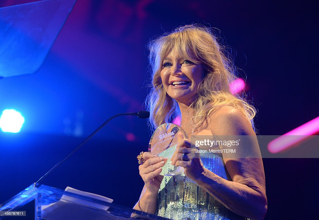Honoree <a gi-track='captionPersonalityLinkClicked' href=/galleries/search?phrase=Goldie+Hawn&family=editorial&specificpeople=171422 ng-click='$event.stopPropagation()'>Goldie Hawn</a> speaks onstage at the 2013 amfAR Inspiration Gala Los Angeles presented by MAC Viva Glam at Milk Studios on December 12, 2013 in Los Angeles, California.