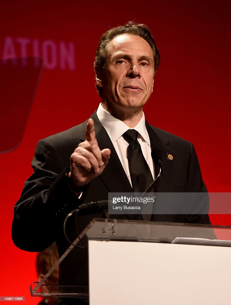 Honoree governor Andrew M Cuomo speaks on stage at the Elton John AIDS Foundation's 13th Annual An Enduring Vision Benefit at Cipriani Wall Street on...