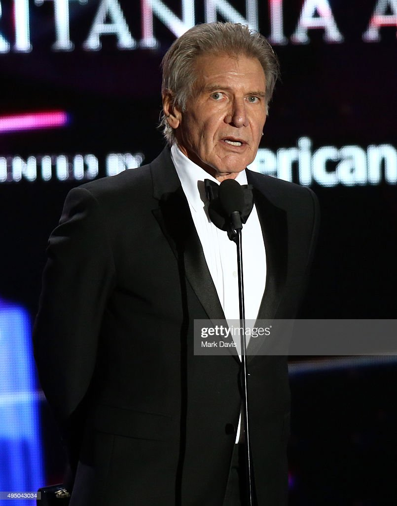 Honoree Harrison Ford accepts the Albert R. Broccoli Britannia Award for Worldwide Contribution to Entertainment onstage during the 2015 Jaguar Land Rover British Academy Britannia Awards presented by American Airlines at The Beverly Hilton Hotel on October 30, 2015 in Beverly Hills, California.