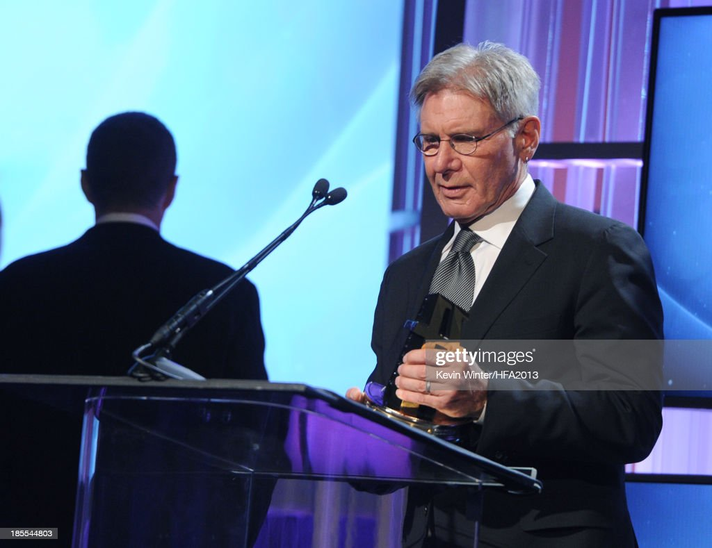 Honoree <a gi-track='captionPersonalityLinkClicked' href=/galleries/search?phrase=Harrison+Ford+-+Actor+-+Born+1942&family=editorial&specificpeople=11508906 ng-click='$event.stopPropagation()'>Harrison Ford</a> accepts the Hollywood Career Achievement Award during the 17th annual Hollywood Film Awards at The Beverly Hilton Hotel on October 21, 2013 in Beverly Hills, California.