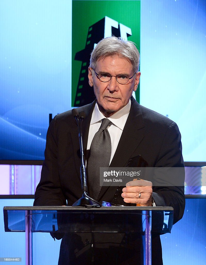 Honoree <a gi-track='captionPersonalityLinkClicked' href=/galleries/search?phrase=Harrison+Ford+-+Actor+-+Born+1942&family=editorial&specificpeople=11508906 ng-click='$event.stopPropagation()'>Harrison Ford</a> during the 17th annual Hollywood Film Awards at The Beverly Hilton Hotel on October 21, 2013 in Beverly Hills, California.