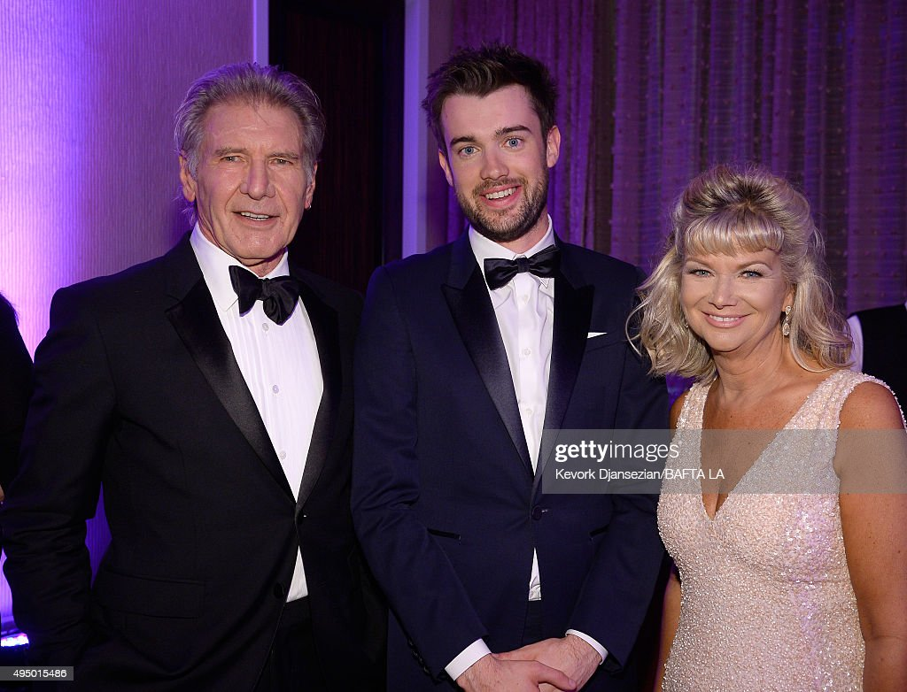 Honoree Harrison Ford host Jack Whitehall and BAFTA Los Angeles CEO Chantal Rickards attend the 2015 Jaguar Land Rover British Academy Britannia...