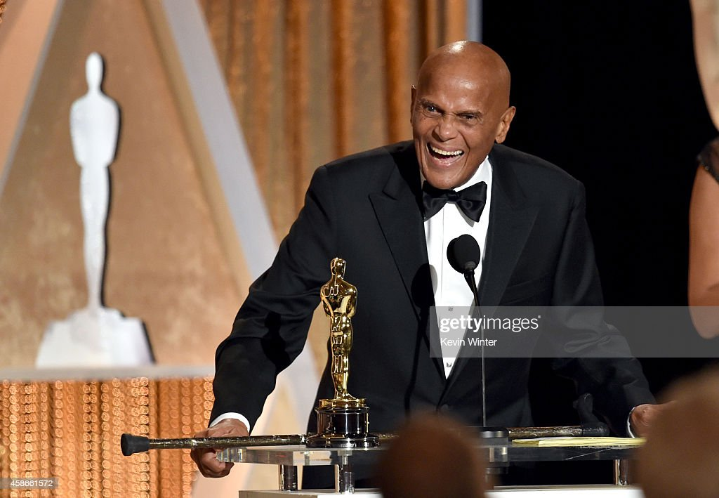 Honoree <a gi-track='captionPersonalityLinkClicked' href=/galleries/search?phrase=Harry+Belafonte&family=editorial&specificpeople=204214 ng-click='$event.stopPropagation()'>Harry Belafonte</a> accepts the Jean Hersholt Humanitarian Award onstage during the Academy Of Motion Picture Arts And Sciences' 2014 Governors Awards at The Ray Dolby Ballroom at Hollywood & Highland Center on November 8, 2014 in Hollywood, California.