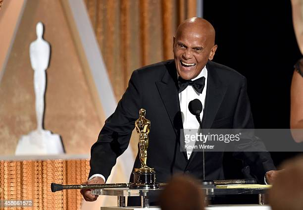 Honoree Harry Belafonte accepts the Jean Hersholt Humanitarian Award onstage during the Academy Of Motion Picture Arts And Sciences' 2014 Governors...
