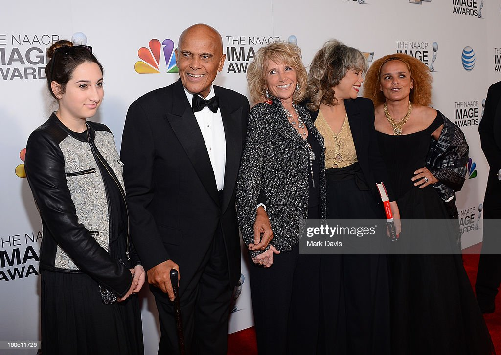 Honoree Harry Belafonte, wife Pamela Frank, author Connie Rice, Shari Belafonte and guest (*far L) attend the 44th NAACP Image Awards at The Shrine Auditorium on February 1, 2013 in Los Angeles, California.