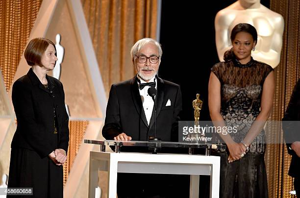 Honoree Hayao Miyazaki accepts an Honorary Award onstage during the Academy Of Motion Picture Arts And Sciences' 2014 Governors Awards at The Ray...