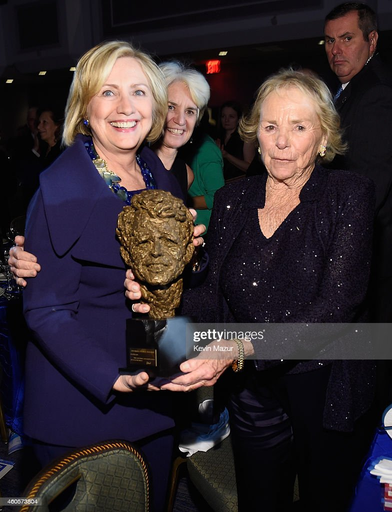 Honoree Hillary Rodham Clinton (L) accepts an award from <a gi-track='captionPersonalityLinkClicked' href=/galleries/search?phrase=Ethel+Kennedy&family=editorial&specificpeople=211589 ng-click='$event.stopPropagation()'>Ethel Kennedy</a> at the RFK Ripple Of Hope Gala at Hilton Hotel Midtown on December 16, 2014 in New York City.