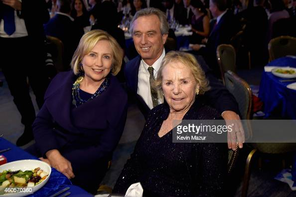 Honoree Hillary Rodham Clinton Robert F Kennedy Jr and Ethel Kennedy attend the RFK Ripple Of Hope Gala at Hilton Hotel Midtown on December 16 2014...