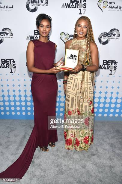 Honoree Ilwad Elman and host Eva Marcille attend the 2017 BET International Awards Presentation at Microsoft Theater on June 24 2017 in Los Angeles...