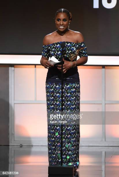 Honoree Issa Rae accepts the Rising Star Award onstage during BET Presents the American Black Film Festival Honors on February 17 2017 in Beverly...