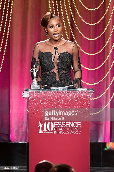 Honoree Issa Rae accepts the 'Vanguard Award' onstage at Essence Black Women in Hollywood Awards at the Beverly Wilshire Four Seasons Hotel on...