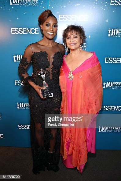 Honoree Issa Rae and actor Debbie Allen pose with the 'Vanguard Award' at Essence Black Women in Hollywood Awards at the Beverly Wilshire Four...