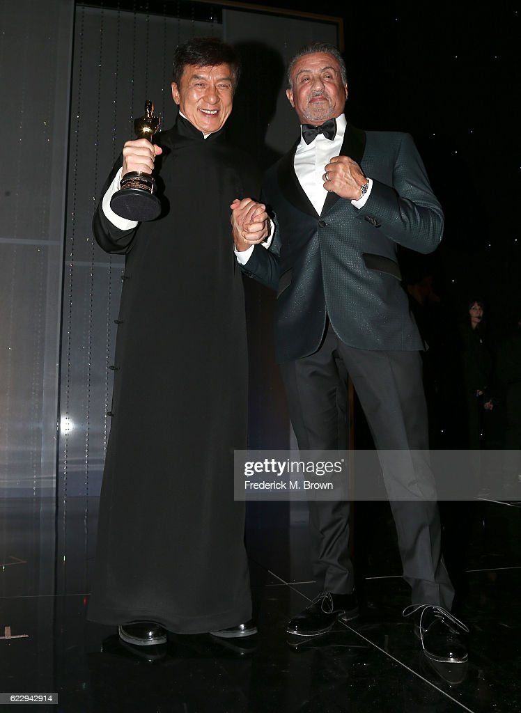Honoree Jackie Chan (R) poses with actor Sylvester Stallone during the Academy of Motion Picture Arts and Sciences' 8th annual Governors Awards at The Ray Dolby Ballroom at Hollywood & Highland Center on November 12, 2016 in Hollywood, California.