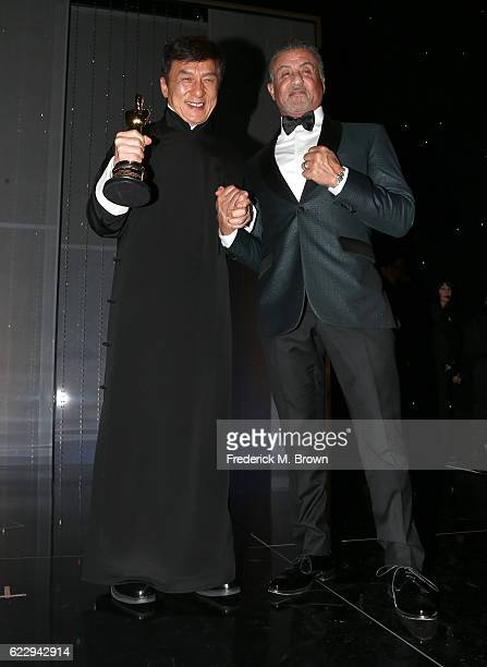 Honoree Jackie Chan poses with actor Sylvester Stallone during the Academy of Motion Picture Arts and Sciences' 8th annual Governors Awards at The...