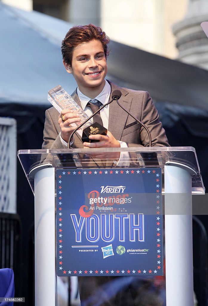 Honoree Jake T Austin accepts award on stage druing Variety's Power of Youth presented by Hasbro Inc and generationOn at Universal Studios Backlot on...