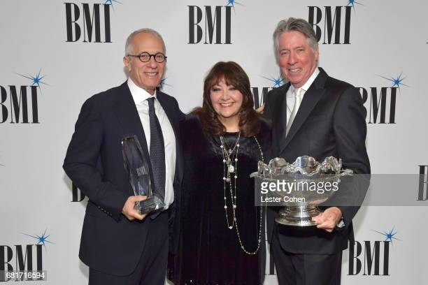 Honoree James Newton Howard BMI VP Film TV Visual Media Relations Doreen RingerRoss and 2017 BMI Icon Award recipient Alan Silvestri at the 2017...
