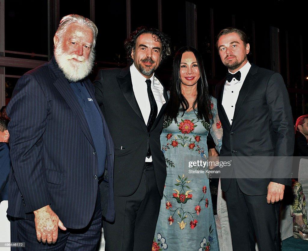 Honoree James Turrell honoree Alejandro Gonzalez Inarritu LACMA Gala CoChair Eva Chow and actor Leonardo DiCaprio attend LACMA 2015 ArtFilm Gala...