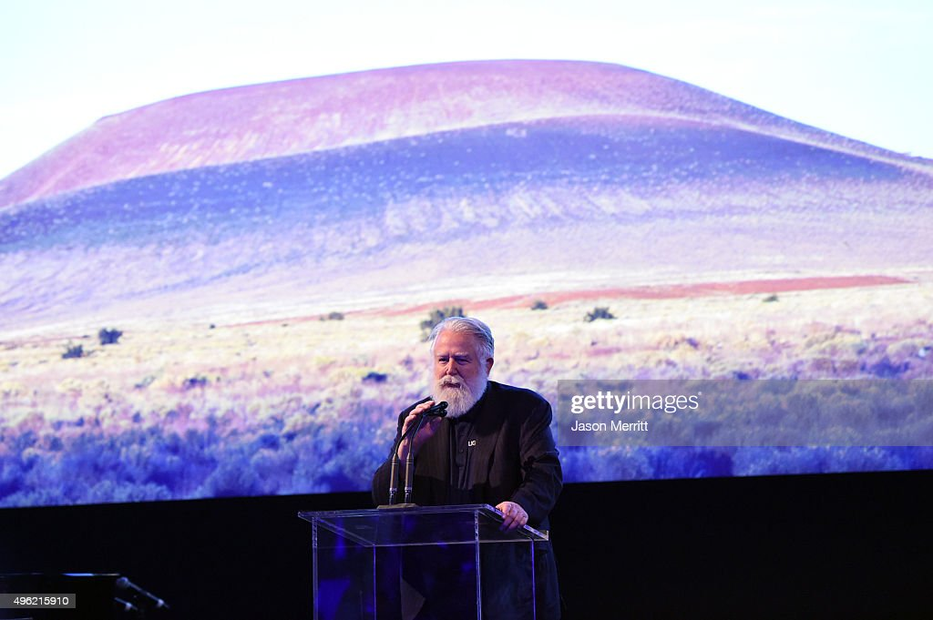 Honoree James Turrell speaks onstage at LACMA 2015 ArtFilm Gala Honoring James Turrell and Alejandro G Iñárritu Presented by Gucci at LACMA on...