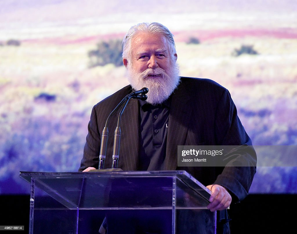 Honoree James Turrell speaks onstage during LACMA 2015 ArtFilm Gala Honoring James Turrell and Alejandro G Iñárritu Presented by Gucci at LACMA on...