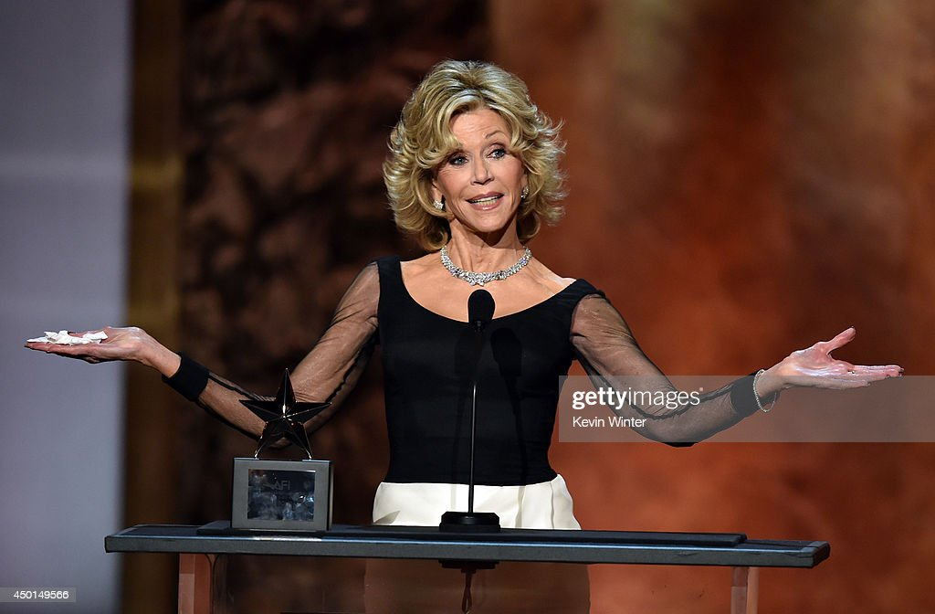Honoree <a gi-track='captionPersonalityLinkClicked' href=/galleries/search?phrase=Jane+Fonda&family=editorial&specificpeople=202174 ng-click='$event.stopPropagation()'>Jane Fonda</a> accepts the AFI Lifetime Achievement Award onstage during the 2014 AFI Life Achievement Award: A Tribute to <a gi-track='captionPersonalityLinkClicked' href=/galleries/search?phrase=Jane+Fonda&family=editorial&specificpeople=202174 ng-click='$event.stopPropagation()'>Jane Fonda</a> at the Dolby Theatre on June 5, 2014 in Hollywood, California. Tribute show airing Saturday, June 14, 2014 at 9pm ET/PT on TNT.