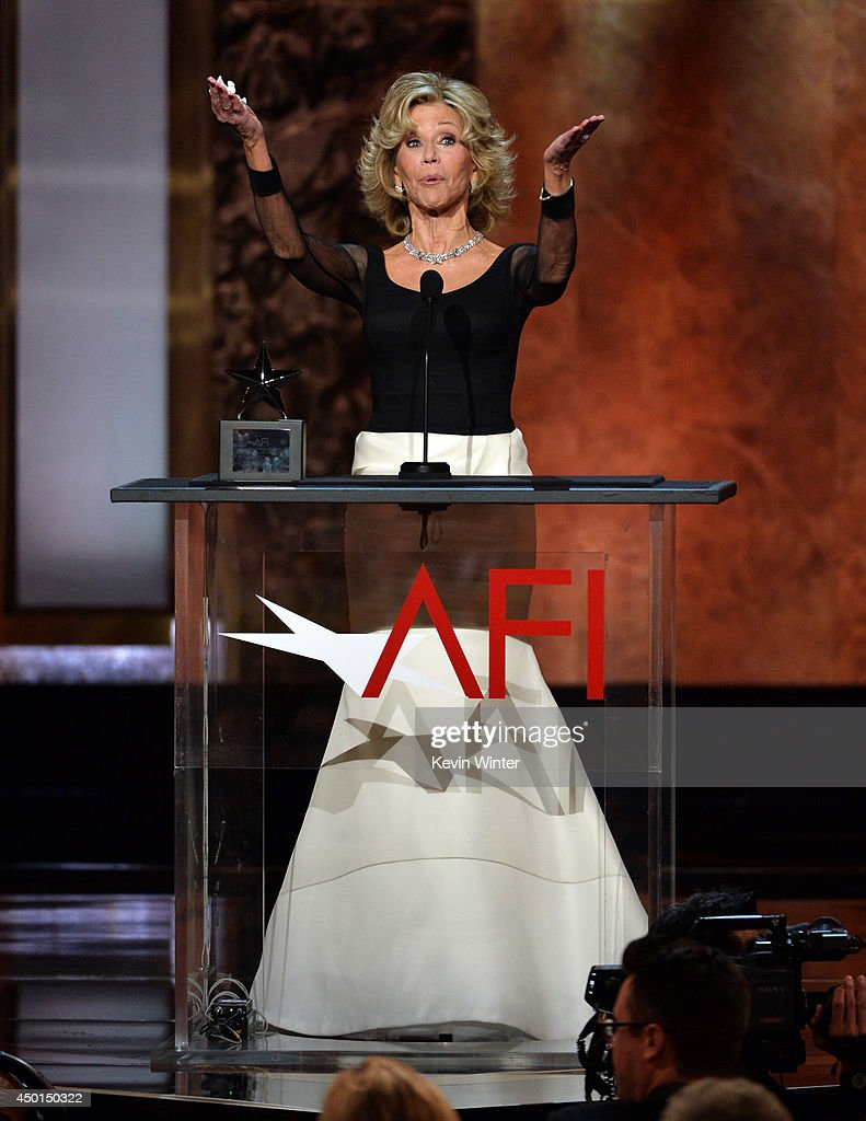 Honoree Jane Fonda accepts the AFI Lifetime Achievement Award onstage during the 2014 AFI Life Achievement Award: A Tribute to Jane Fonda at the Dolby Theatre on June 5, 2014 in Hollywood, California. Tribute show airing Saturday, June 14, 2014 at 9pm ET/PT on TNT.