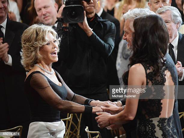 Honoree Jane Fonda actors Michael Douglas and Catherine ZetaJones attend the 2014 AFI Life Achievement Award A Tribute to Jane Fonda at the Dolby...