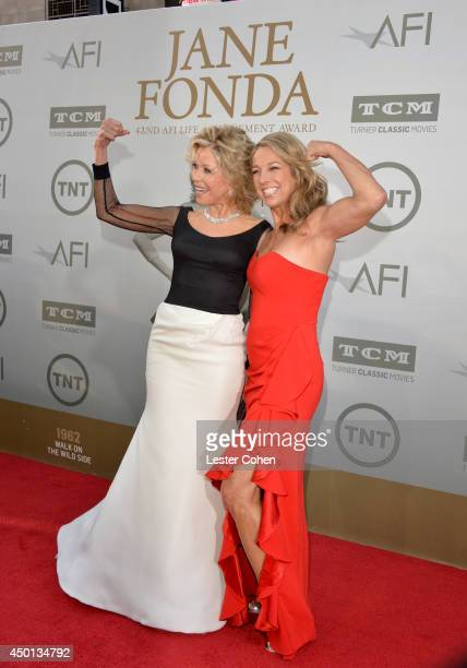 Honoree Jane Fonda and fitness expert Denise Austin attend the 2014 AFI Life Achievement Award A Tribute to Jane Fonda at the Dolby Theatre on June 5...