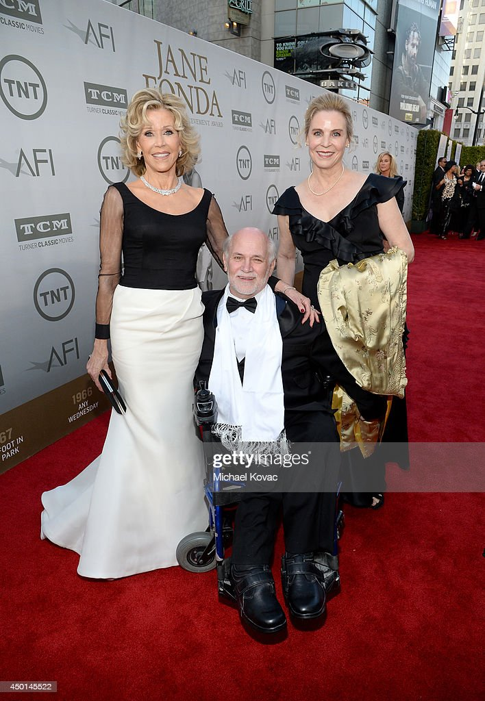 Honoree <a gi-track='captionPersonalityLinkClicked' href=/galleries/search?phrase=Jane+Fonda&family=editorial&specificpeople=202174 ng-click='$event.stopPropagation()'>Jane Fonda</a>, writer <a gi-track='captionPersonalityLinkClicked' href=/galleries/search?phrase=Ron+Kovic&family=editorial&specificpeople=582259 ng-click='$event.stopPropagation()'>Ron Kovic</a>, and Perriann Ferren attend the 2014 AFI Life Achievement Award: A Tribute to <a gi-track='captionPersonalityLinkClicked' href=/galleries/search?phrase=Jane+Fonda&family=editorial&specificpeople=202174 ng-click='$event.stopPropagation()'>Jane Fonda</a> at the Dolby Theatre on June 5, 2014 in Hollywood, California. Tribute show airing Saturday, June 14, 2014 at 9pm ET/PT on TNT.